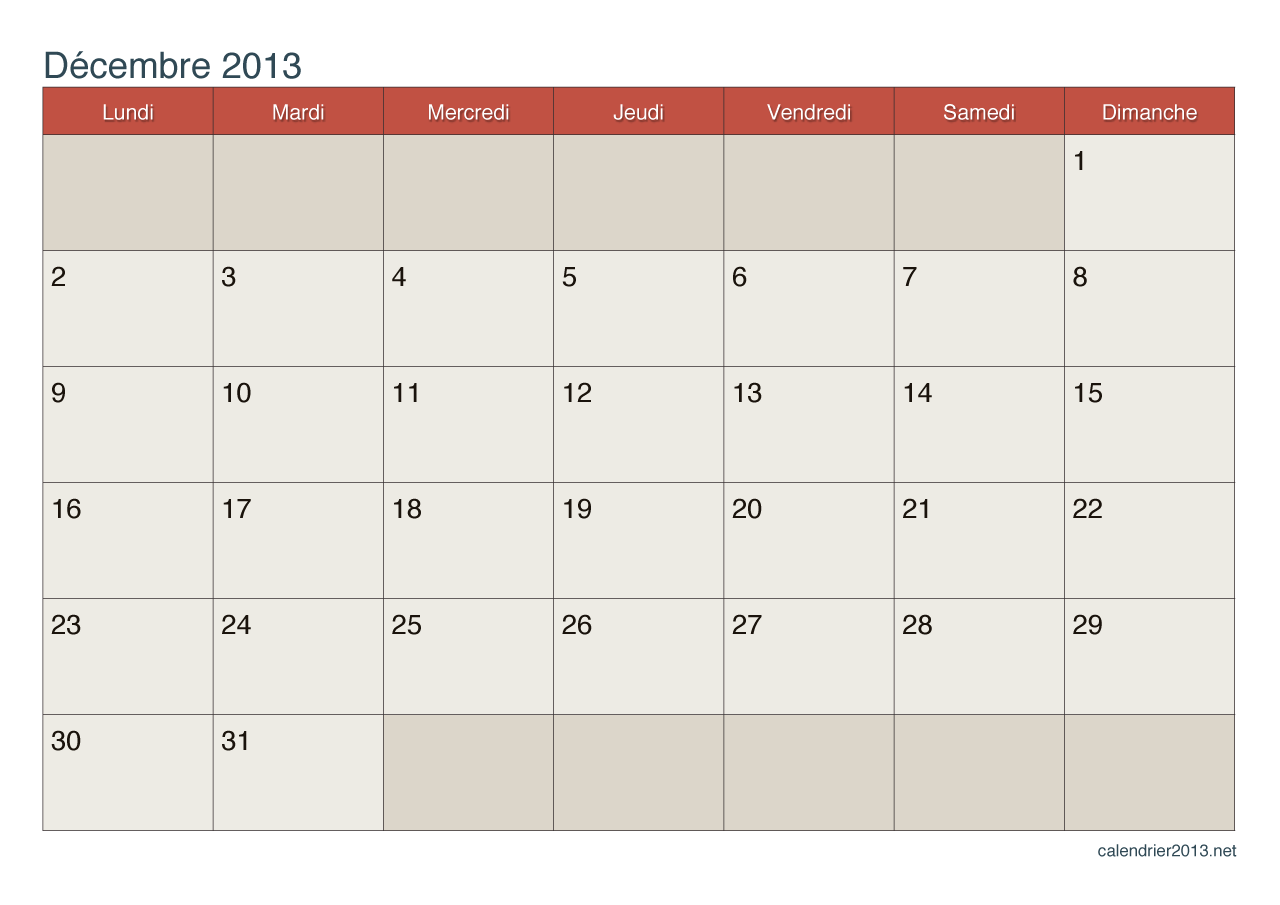 Calendrier 2013 imprimer new calendar template site for Calendrier mural 2015