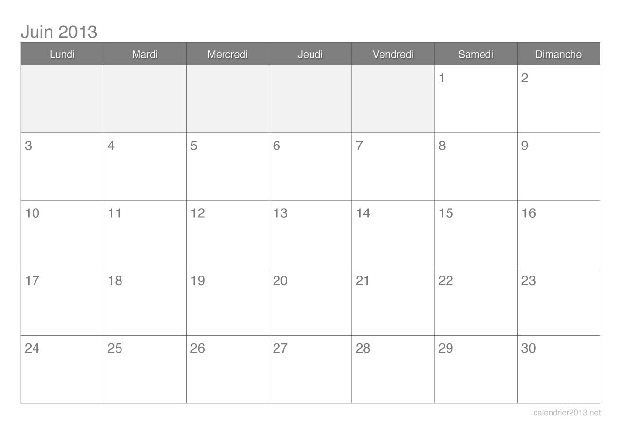 Calendrier du mois de juin 2013 224 imprimer